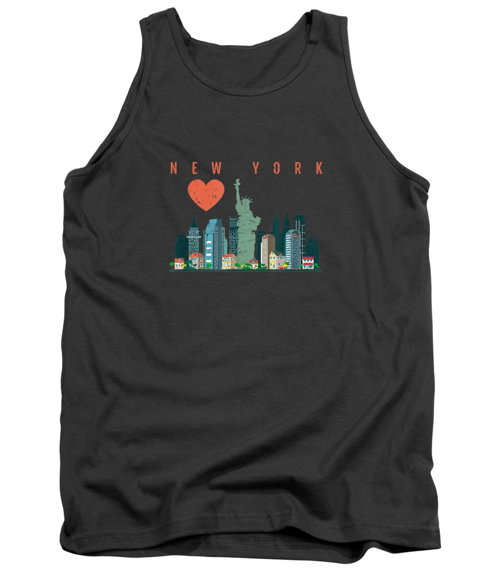 men's Novelty T-shirts Tank Top featuring the digital art New York City Nyc Skyline Heart Distressed Style Tshirt by Unique Tees