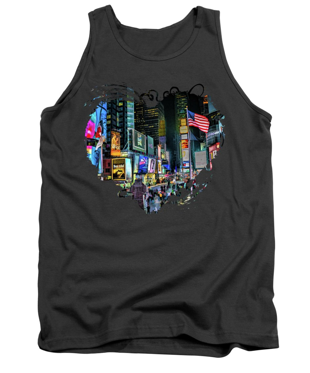 New York Tank Top featuring the painting New York City Times Square by Christopher Arndt