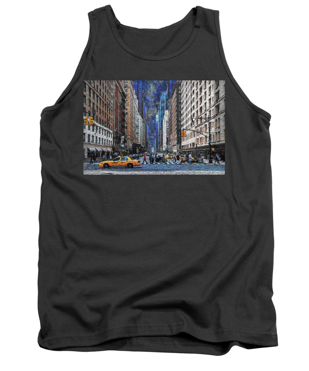 New York Tank Top featuring the digital art New York Street Traffic by Ronald Bolokofsky