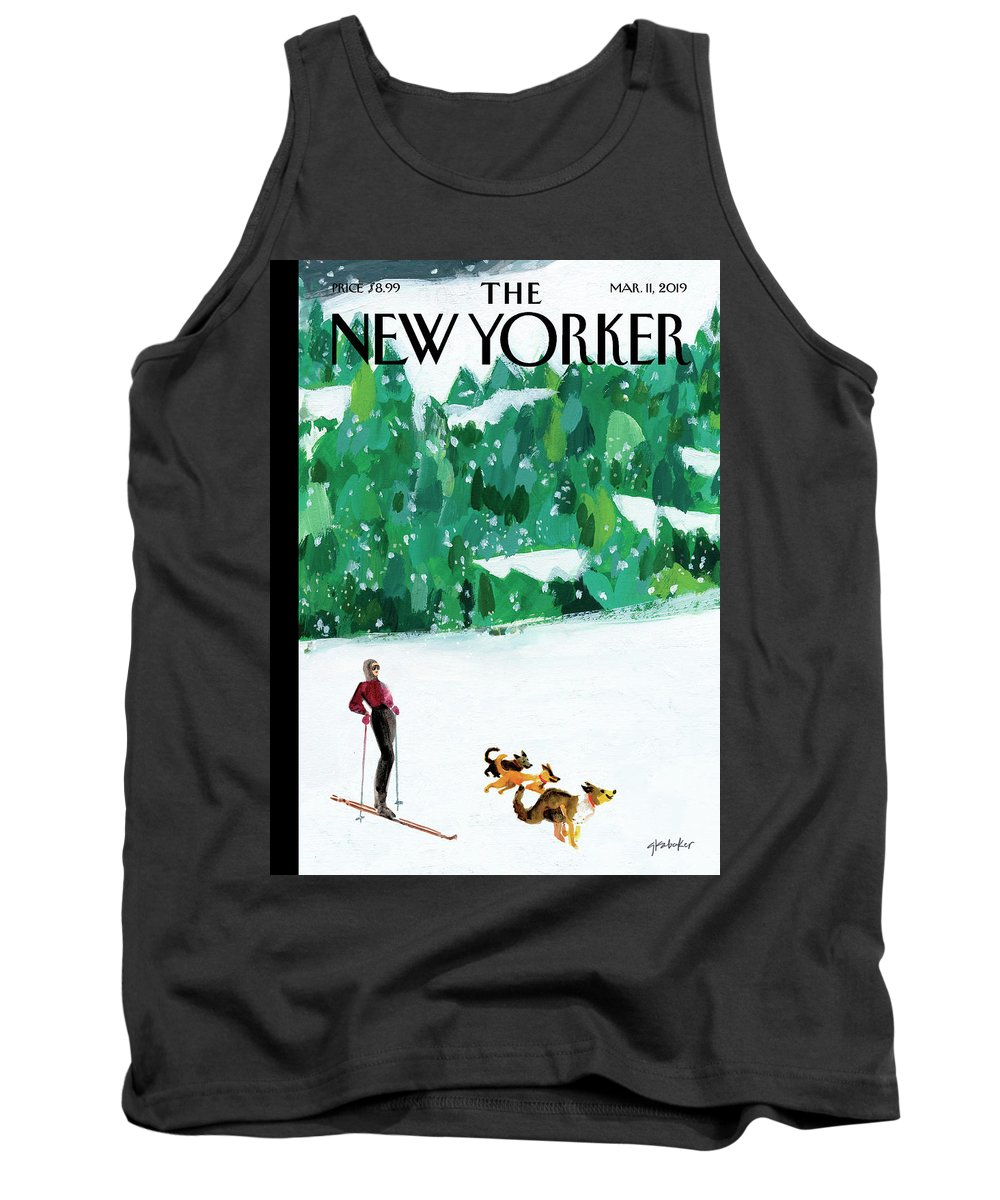 Skiing Tank Top featuring the painting Off The Path by Gayle Kabaker