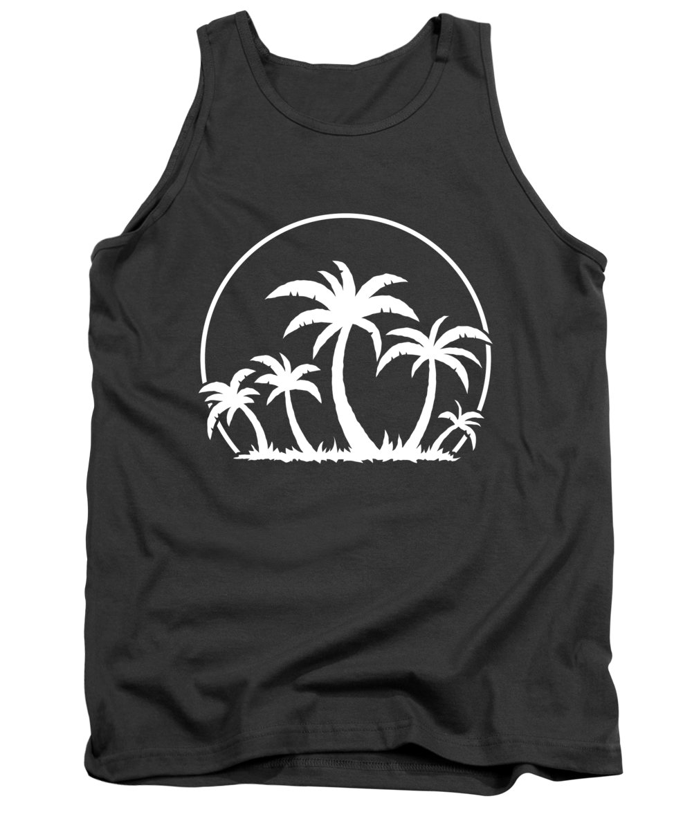 Beach Tank Top featuring the digital art Palm Trees And Sunset in White by John Schwegel