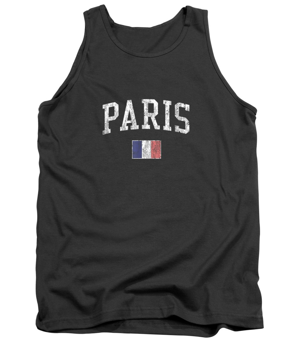 girls' Novelty Clothing Tank Top featuring the digital art Paris France T-shirt Vintage Sports Design French Flag Tee by Unique Tees