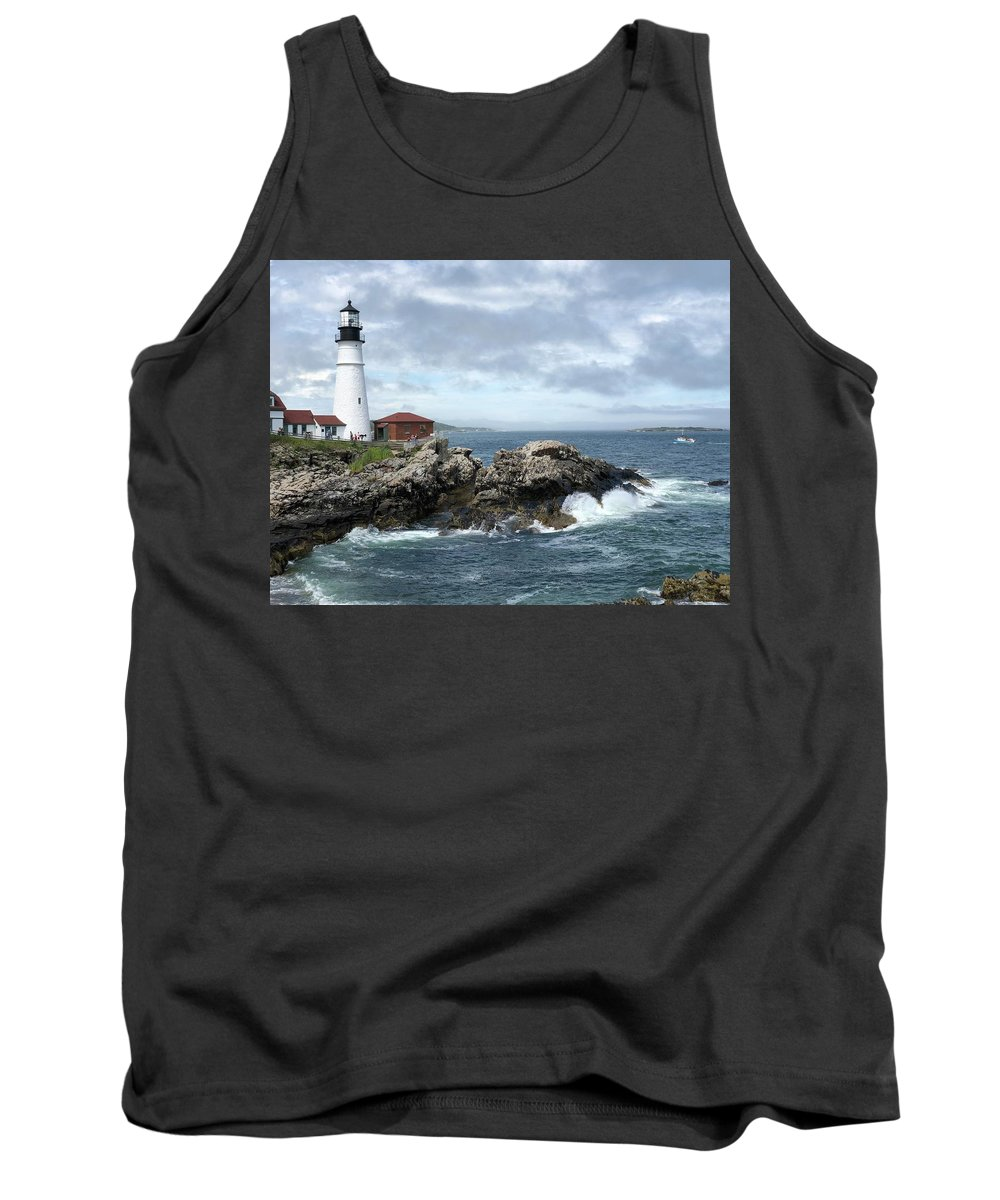 Maine Tank Top featuring the photograph Portland Head Light House by Dick Goodman
