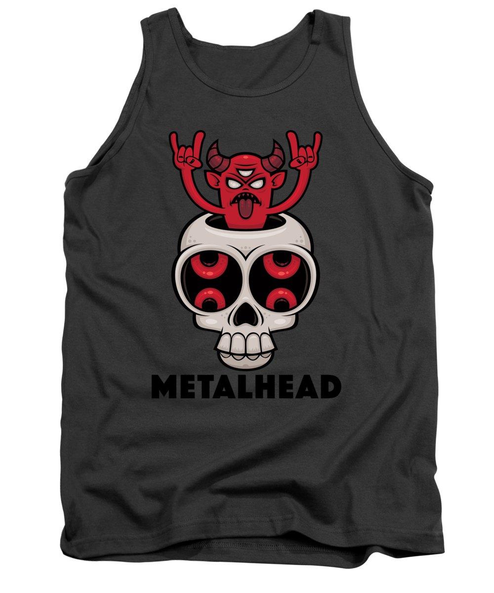 Skull Tank Top featuring the digital art Possessed Skull Metalhead by John Schwegel