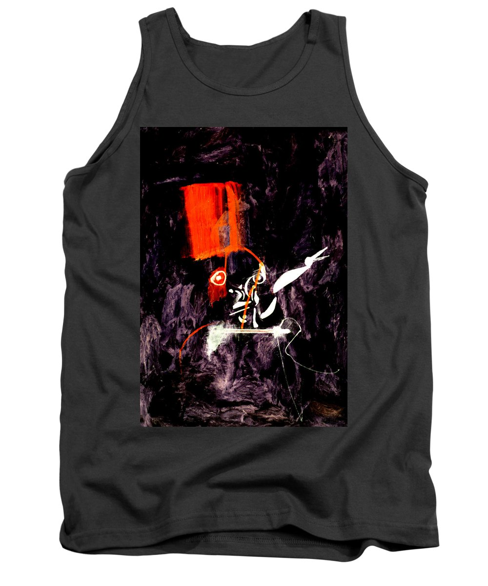 Red Room Tank Top featuring the digital art Red Room Zoom by Artist Dot