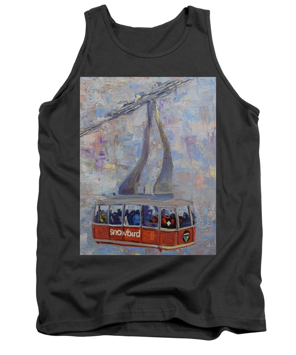 Red Tram Tank Top featuring the painting Red Tram by Paul Winter