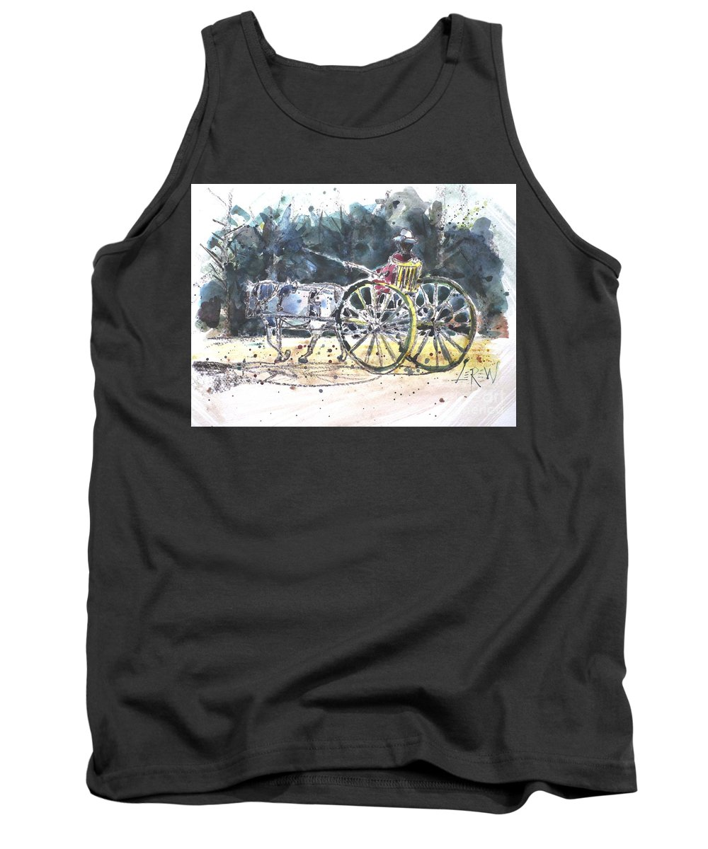 Williamsburg Tank Top featuring the painting Saunter by Larry Lerew