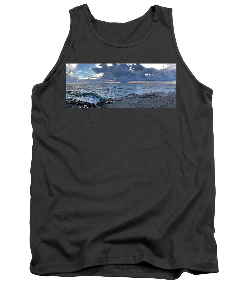 Waves Tank Top featuring the photograph Shoreline Rain Clouds by Laurie Hein