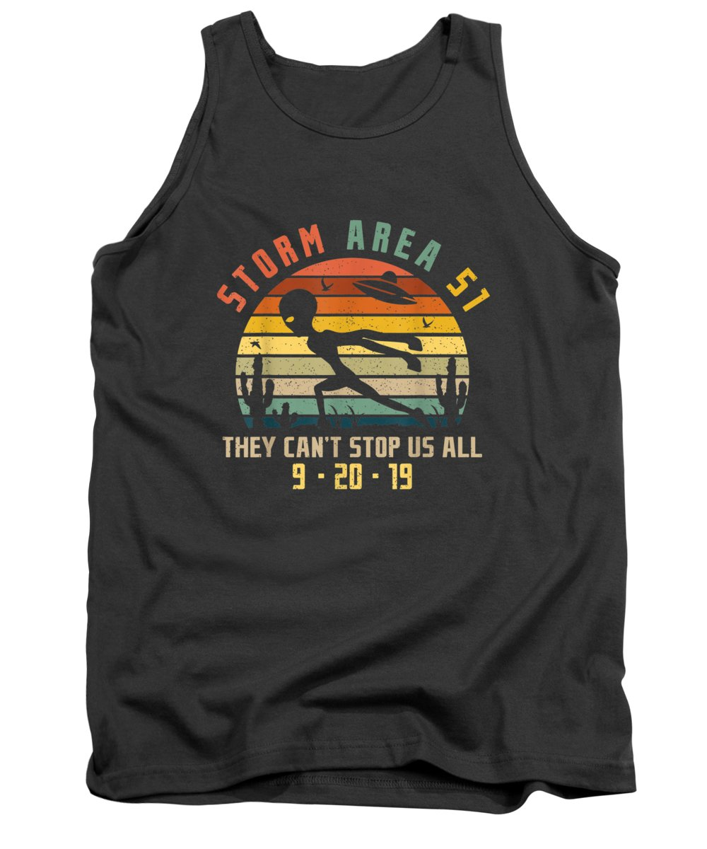 girls' Novelty T-shirts Tank Top featuring the digital art Storm Area 51 They Can't Stop Us All Running Alien Vintage Tshirt by Do David
