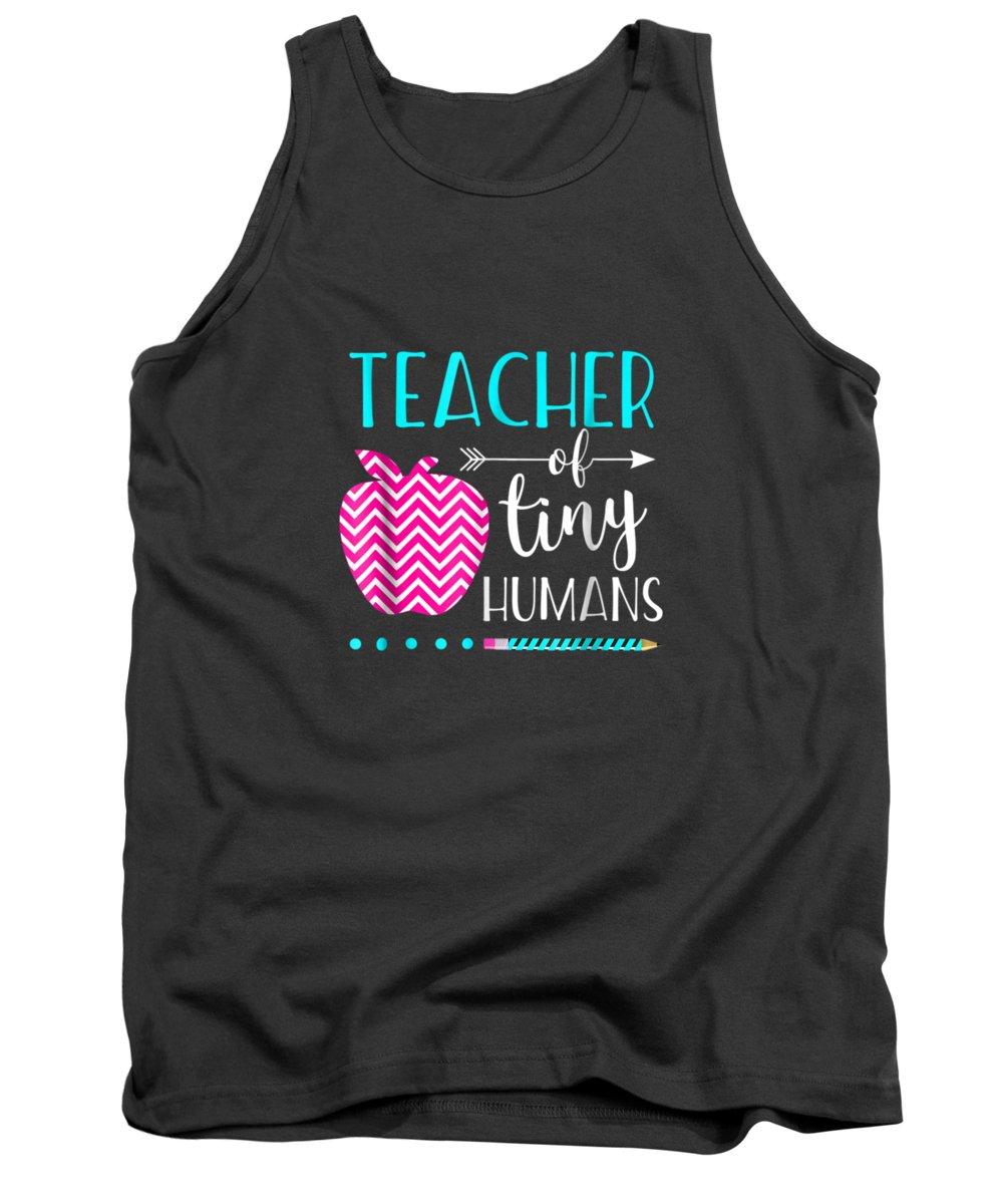 men's Novelty T-shirts Tank Top featuring the digital art Teacher Of Tiny Humans Shirt Teacher Appreciation Day Gift by Do David