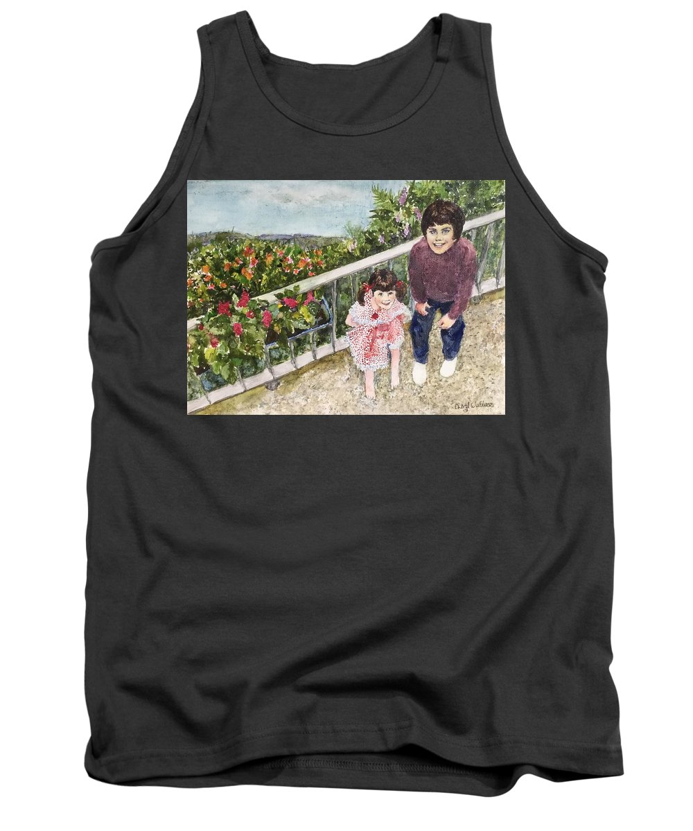Belgium Tank Top featuring the painting The Childrens Garden by Cheryl Wallace