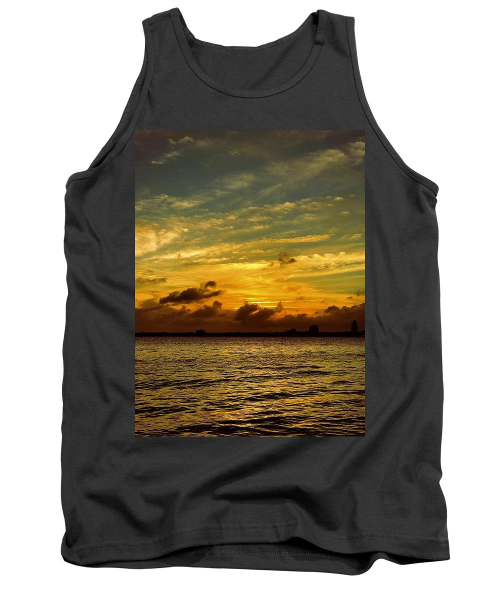 Landscape At Sunset On The St. John's River Bank In Jacksonville Tank Top featuring the photograph The Eve Of Hurricane Michael IIi by Patricia DOYLE Olson
