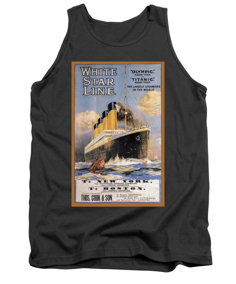 Titanic Advertising Poster Tank Top featuring the photograph Titanic Advertising Poster by Jon Neidert