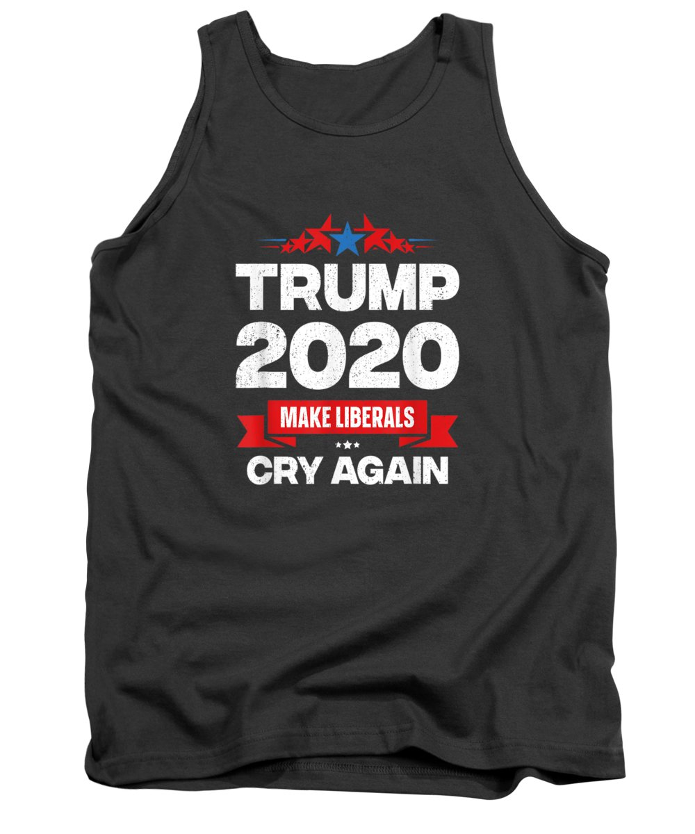 men's Novelty T-shirts Tank Top featuring the digital art Trump 2020 Make Liberals Cry Again 4th Of July President T-shirt by Do David