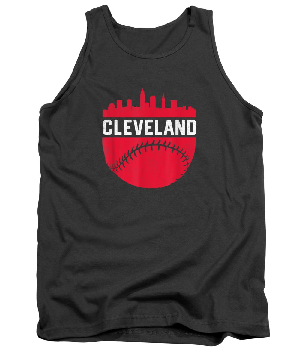 girls' Novelty Clothing Tank Top featuring the digital art Vintage Downtown Cleveland Ohio Skyline Baseball T-shirt by Unique Tees