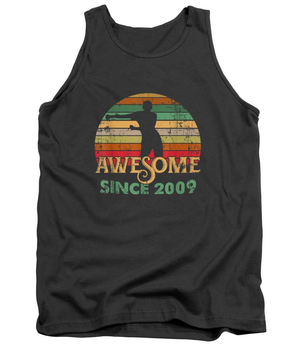 girls' Novelty Clothing Tank Top featuring the digital art Vintage Flossing Awesome Since 2009 10th Yrs Birthday Gifts by Unique Tees
