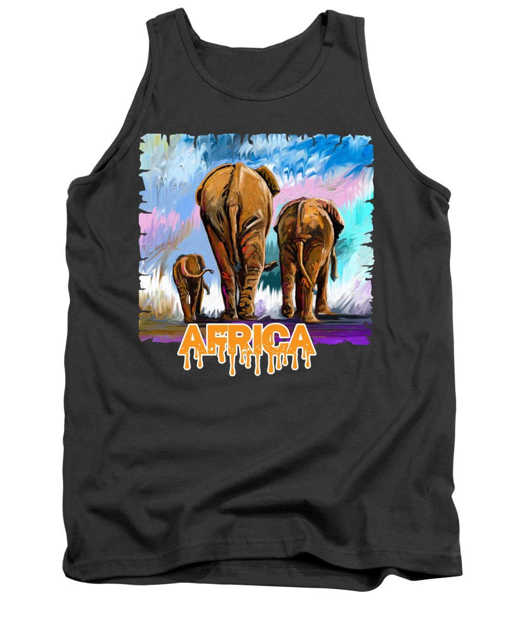 Gnu Tank Top featuring the painting Walking Away by Anthony Mwangi