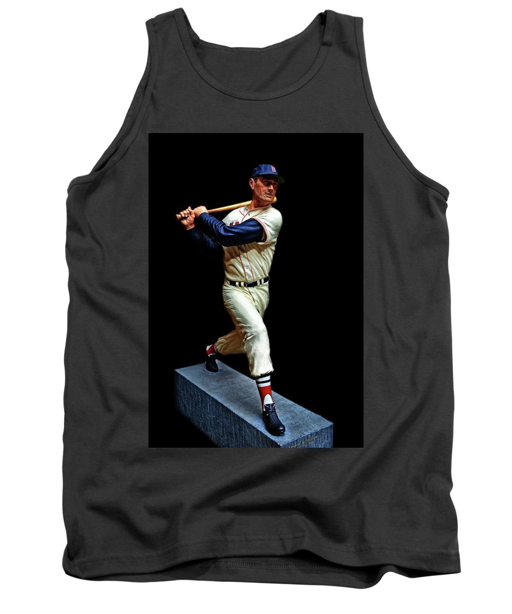 Baseball Tank Top featuring the photograph Wood Carving - Ted Williams 001 Black Background by George Bostian