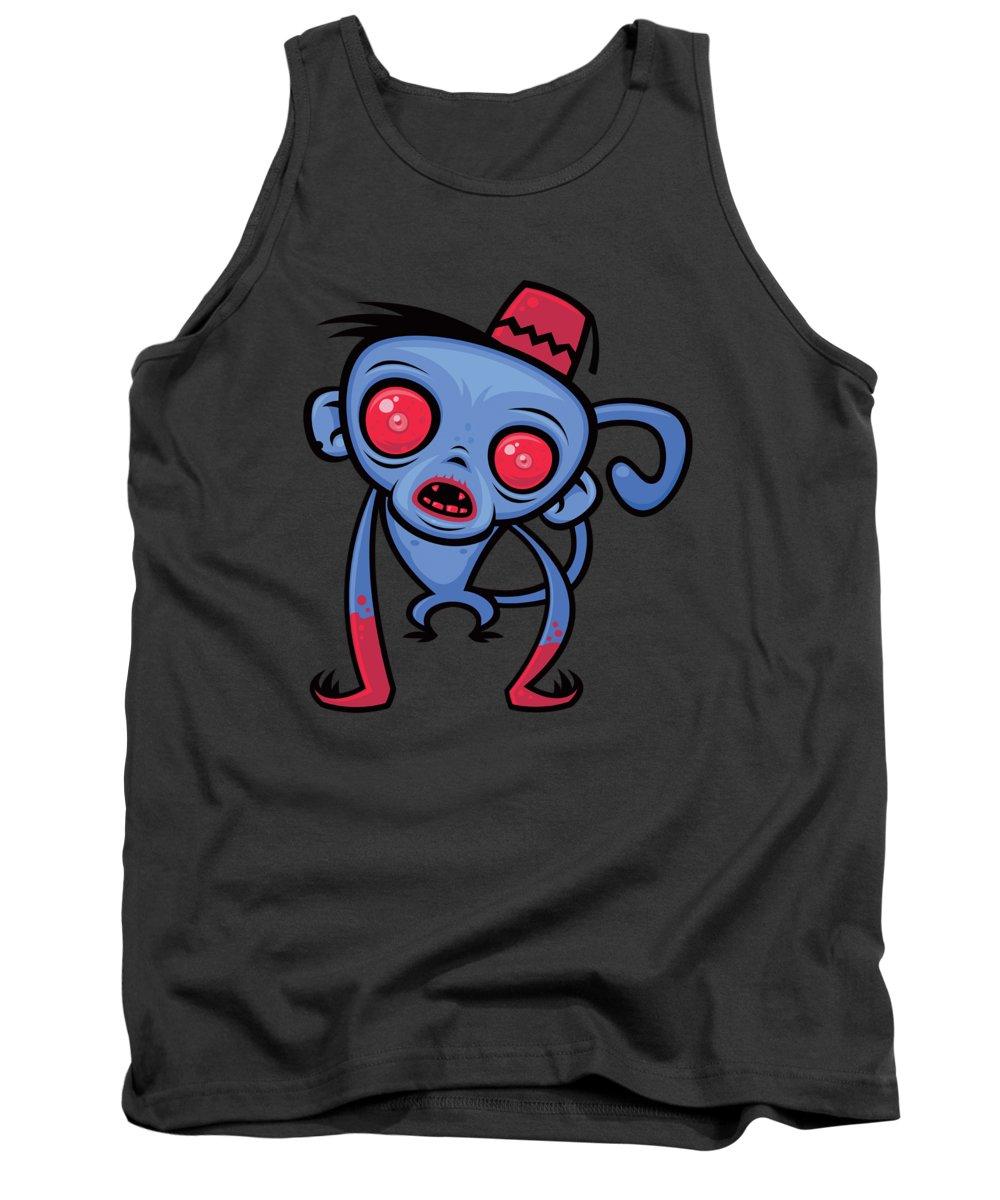 Monkey Tank Top featuring the digital art Zombie Monkey by John Schwegel