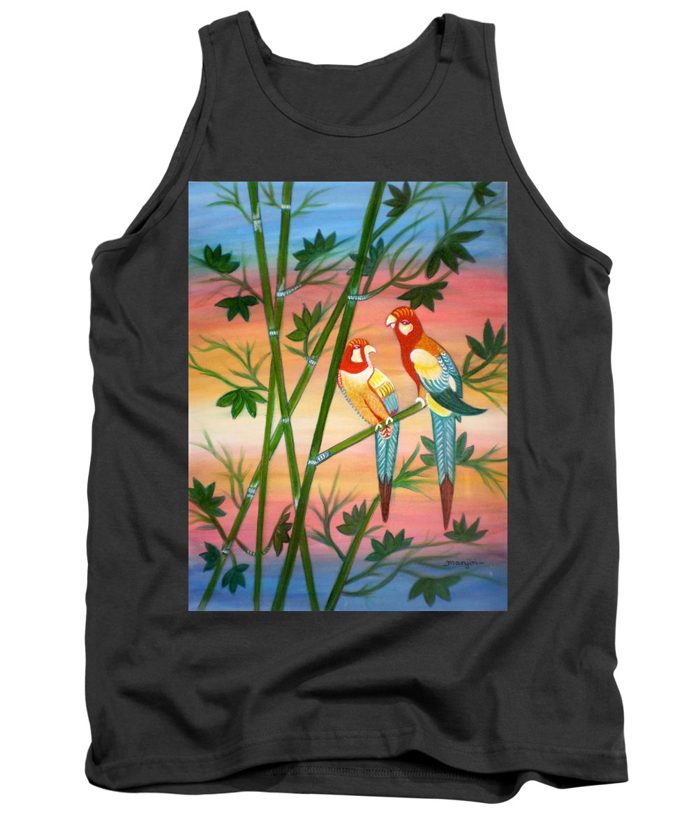 Acrylic Tank Top featuring the painting Birds in Paradise by Manjiri Kanvinde