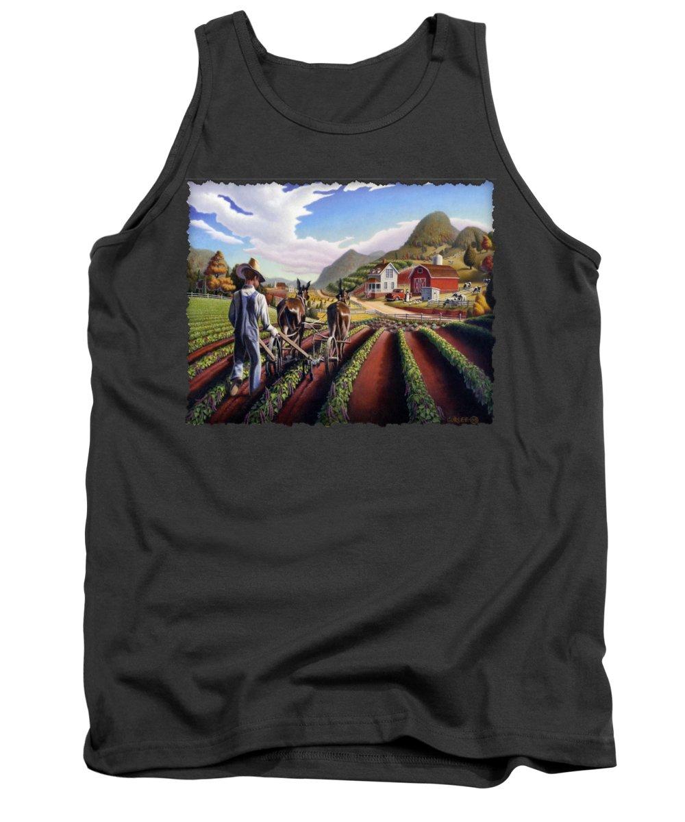 Appalachian Tank Top featuring the painting Appalachian Folk Art Summer Farmer Cultivating Peas Farm Farming Landscape Appalachia Americana by Walt Curlee