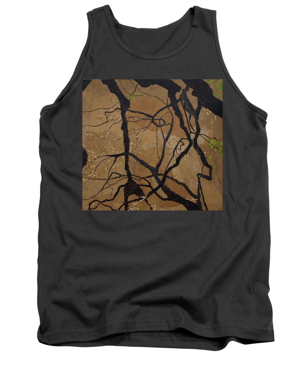 Abstract Tree Branches Tank Top featuring the painting Arboretum Dancers by Leah Tomaino
