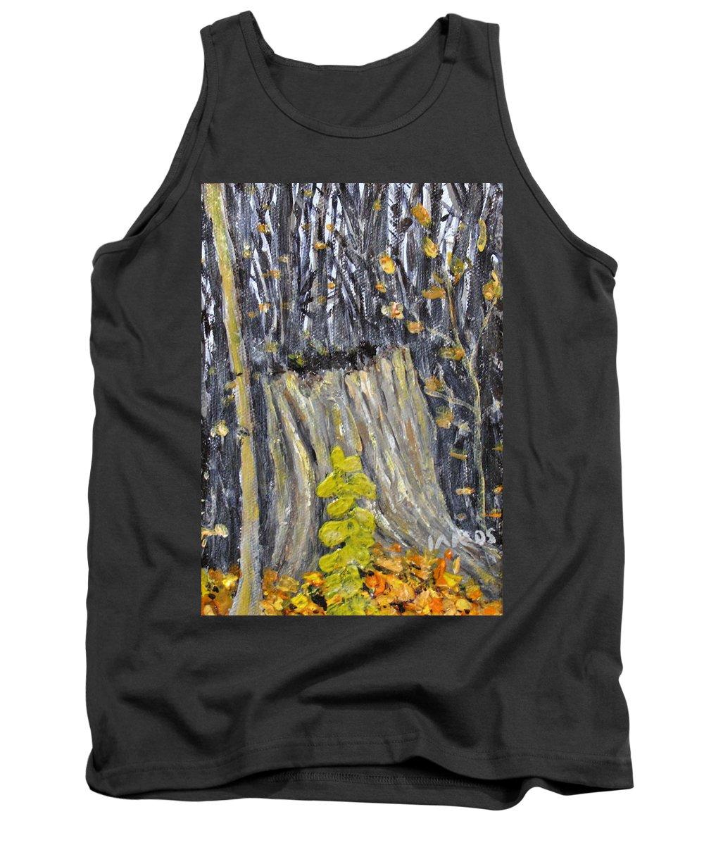 Stump Tank Top featuring the painting Autumn Stump by Ian MacDonald