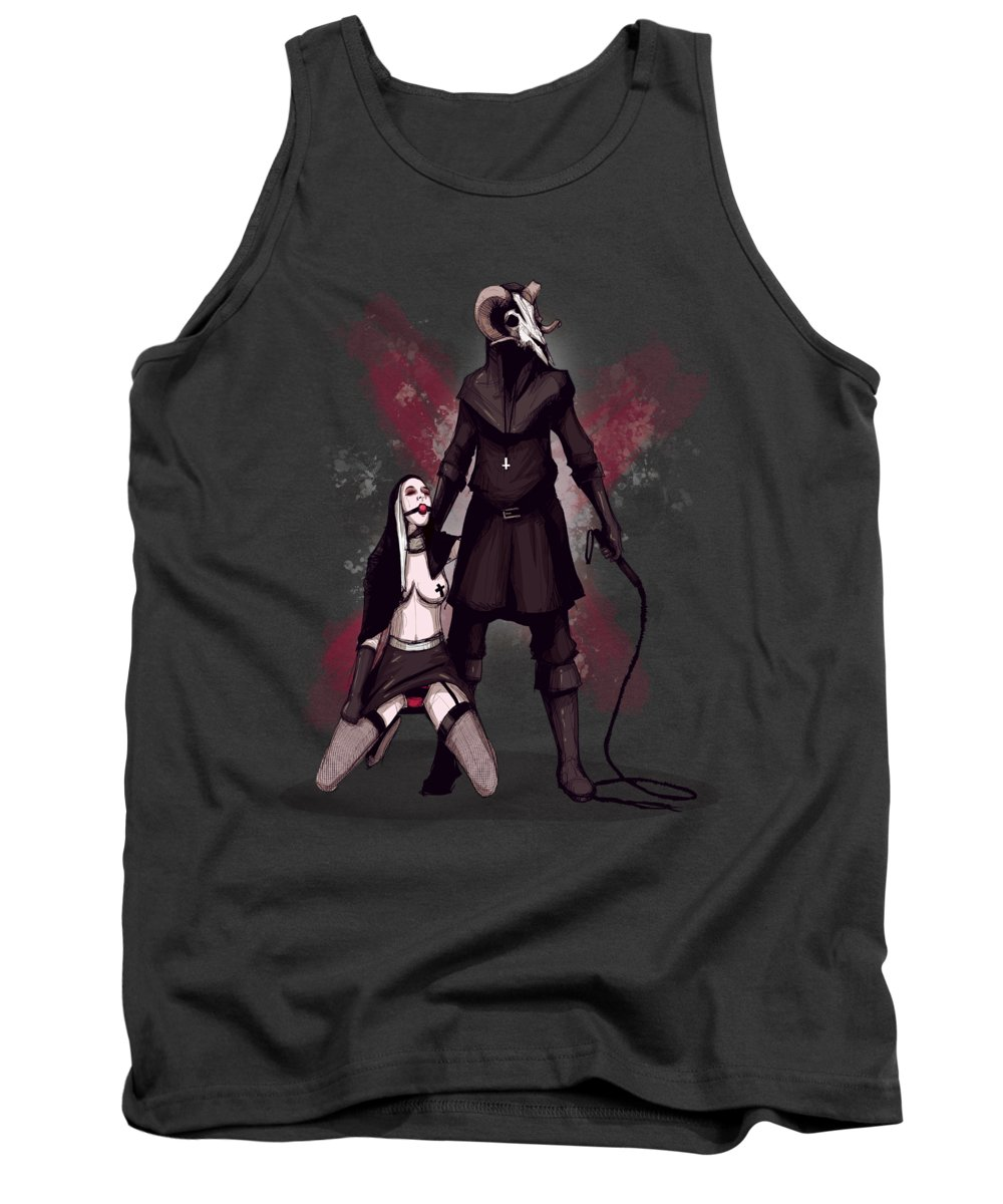 Nun Tank Top featuring the drawing Black Mass by Ludwig Van Bacon
