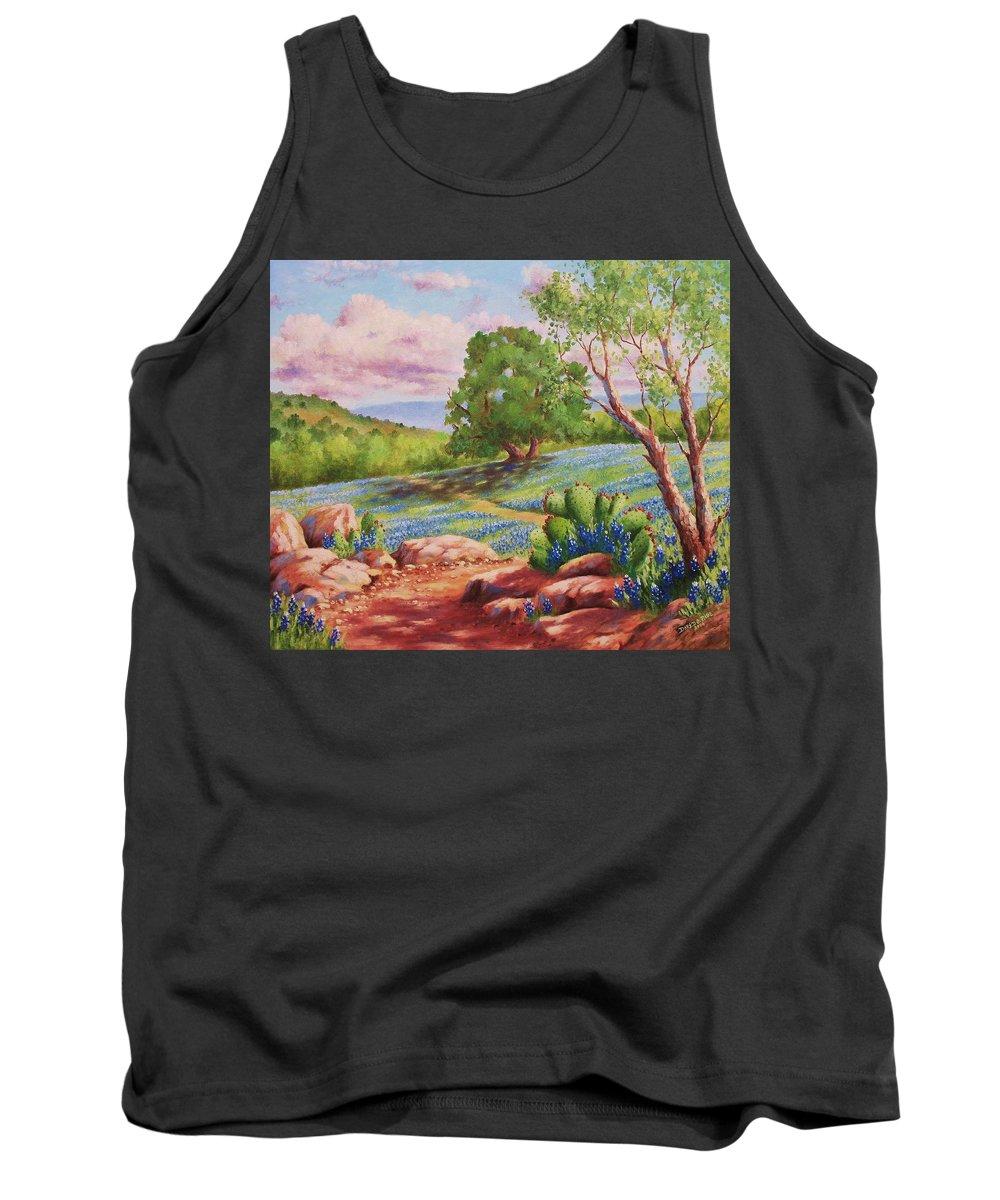 Bluebonnet Tank Top featuring the painting Bluebonnet Trail by David G Paul