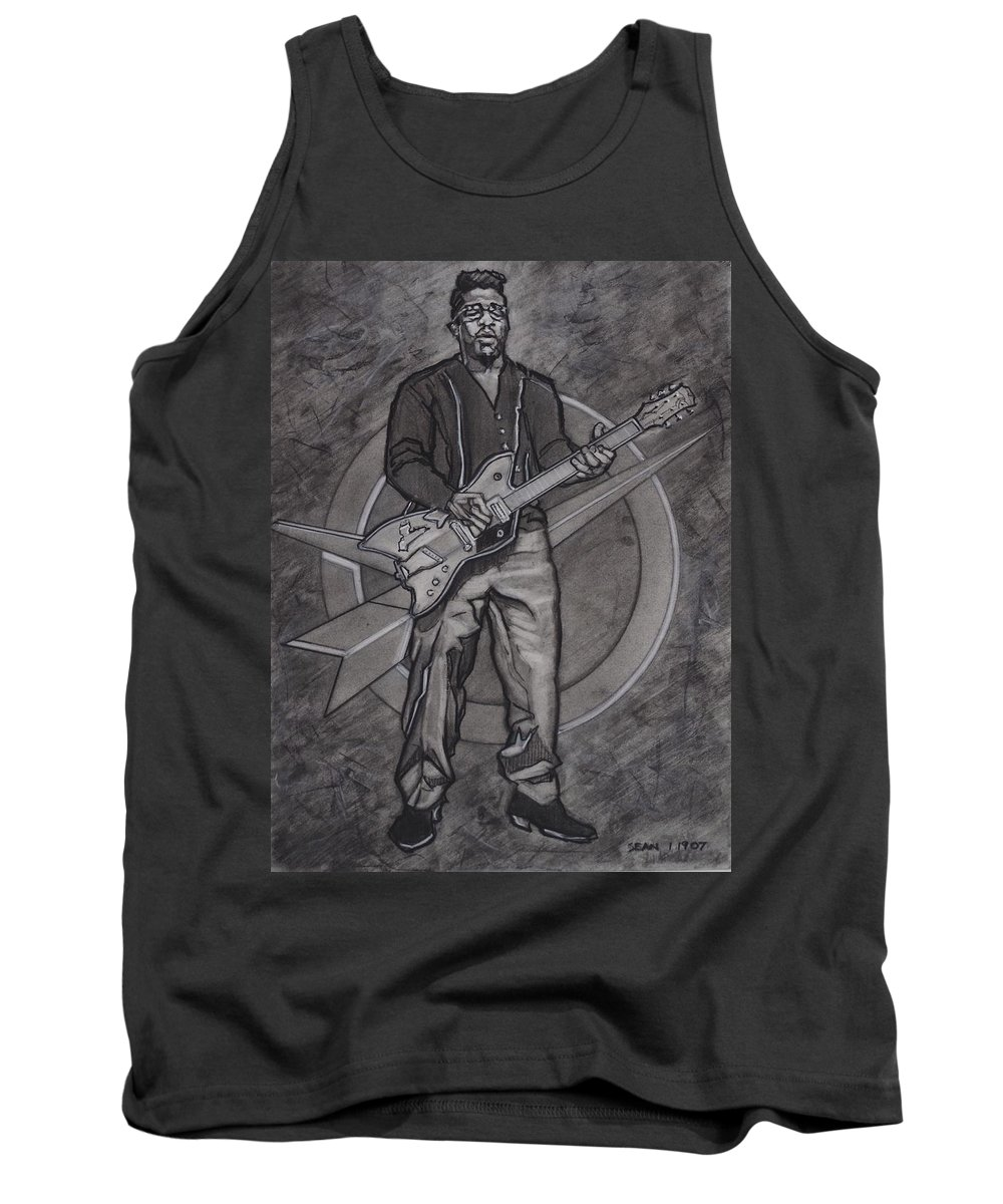 Texas Tank Top featuring the drawing Bo Diddley - Have Guitar Will Travel by Sean Connolly
