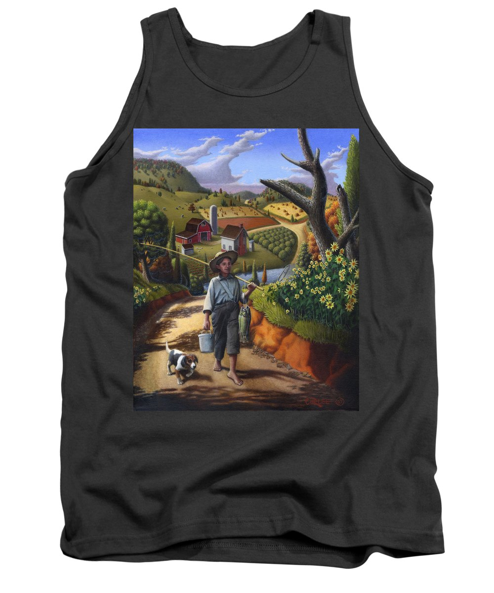Boy And Dog Tank Top featuring the painting Boy and Dog Farm Landscape - Flashback - Childhood Memories - americana - Painting - Walt Curlee by Walt Curlee