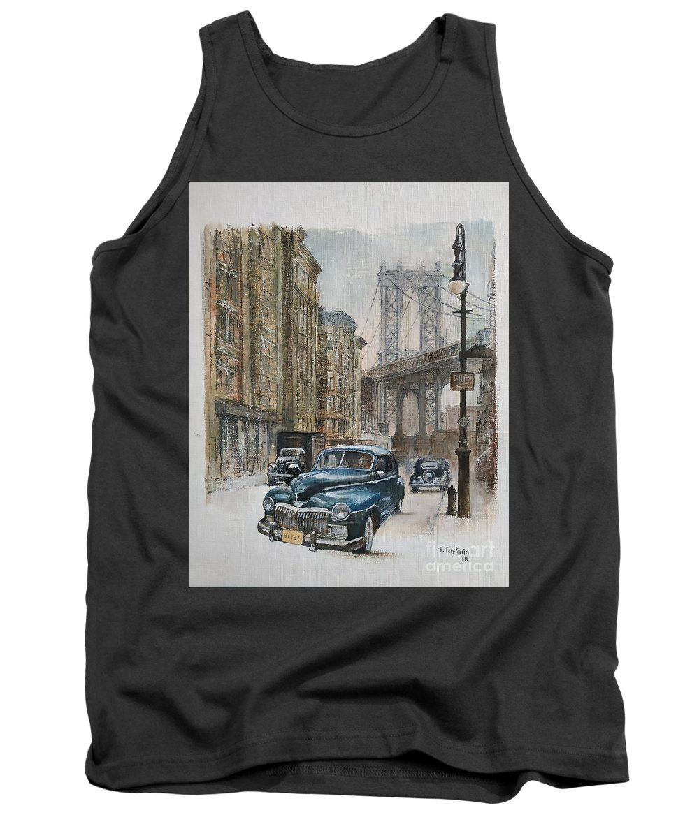 Blue Car Tank Top featuring the painting Brooklyn bridge by Tomas Castano