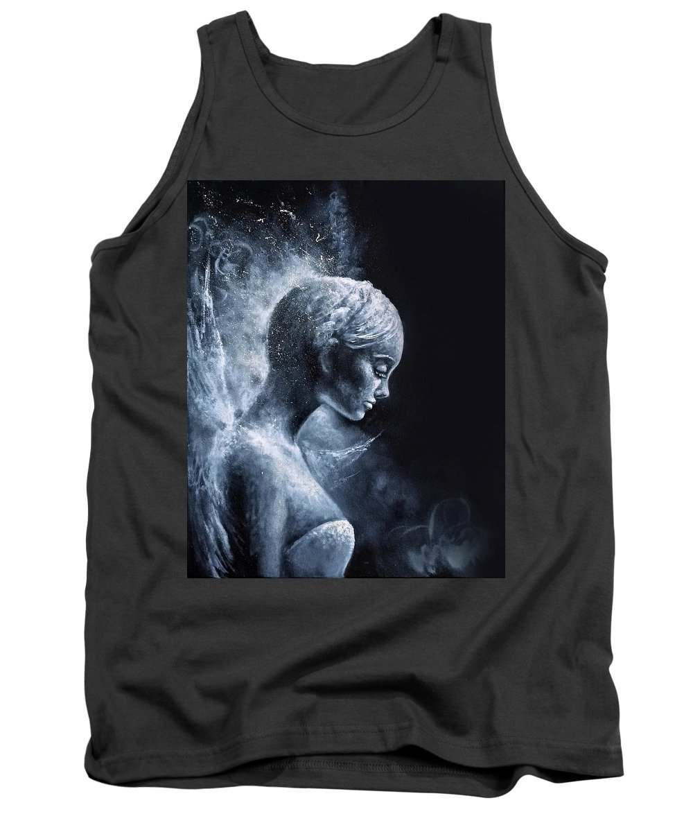 Angel Tank Top featuring the painting Angel Black and White by Natalja Picugina
