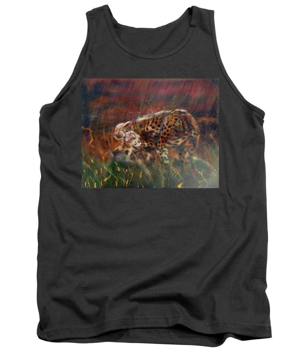 Realism Tank Top featuring the painting Cheetah Family In Monsoon by Sean Connolly