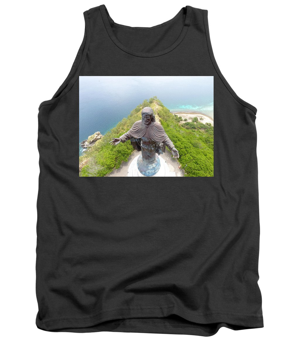 Adventure Tank Top featuring the photograph Cristo Rei of Dili statue of Jesus by Brthrjhn2099