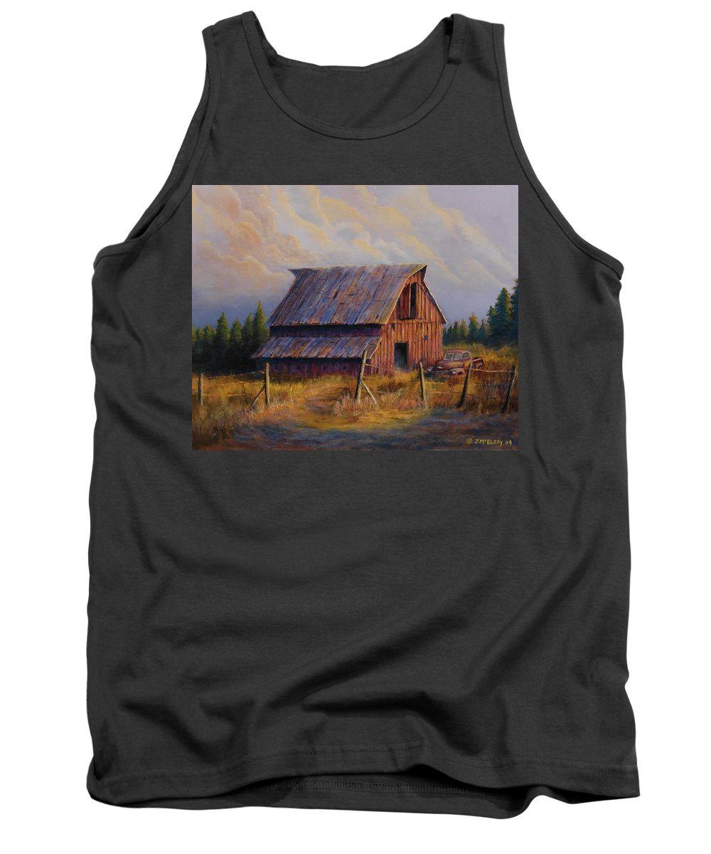 Barn Tank Top featuring the painting Grandpas Truck by Jerry McElroy