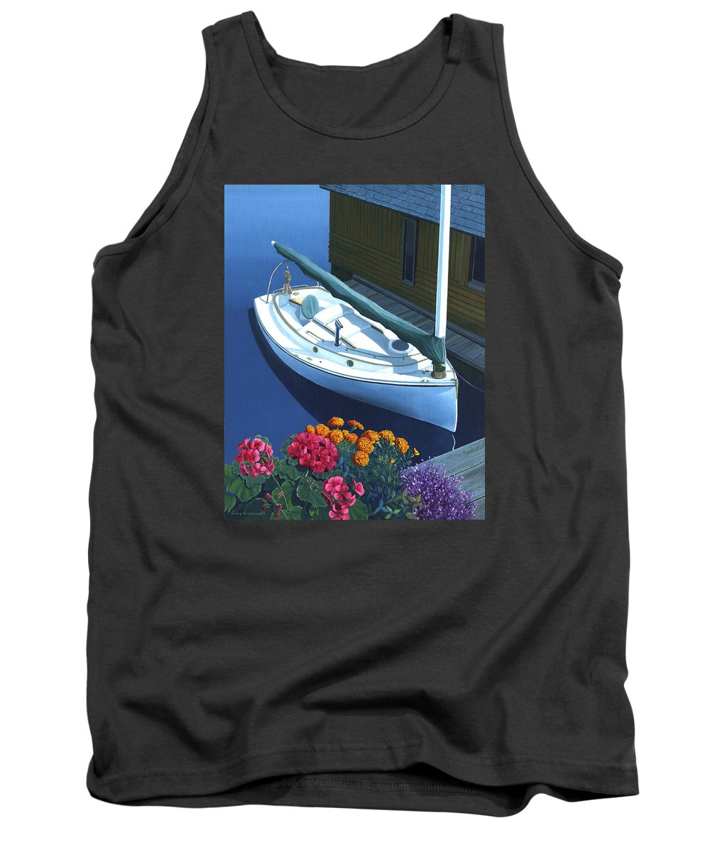 Seascape Tank Top featuring the painting Granville Island Catboat by Gary Giacomelli