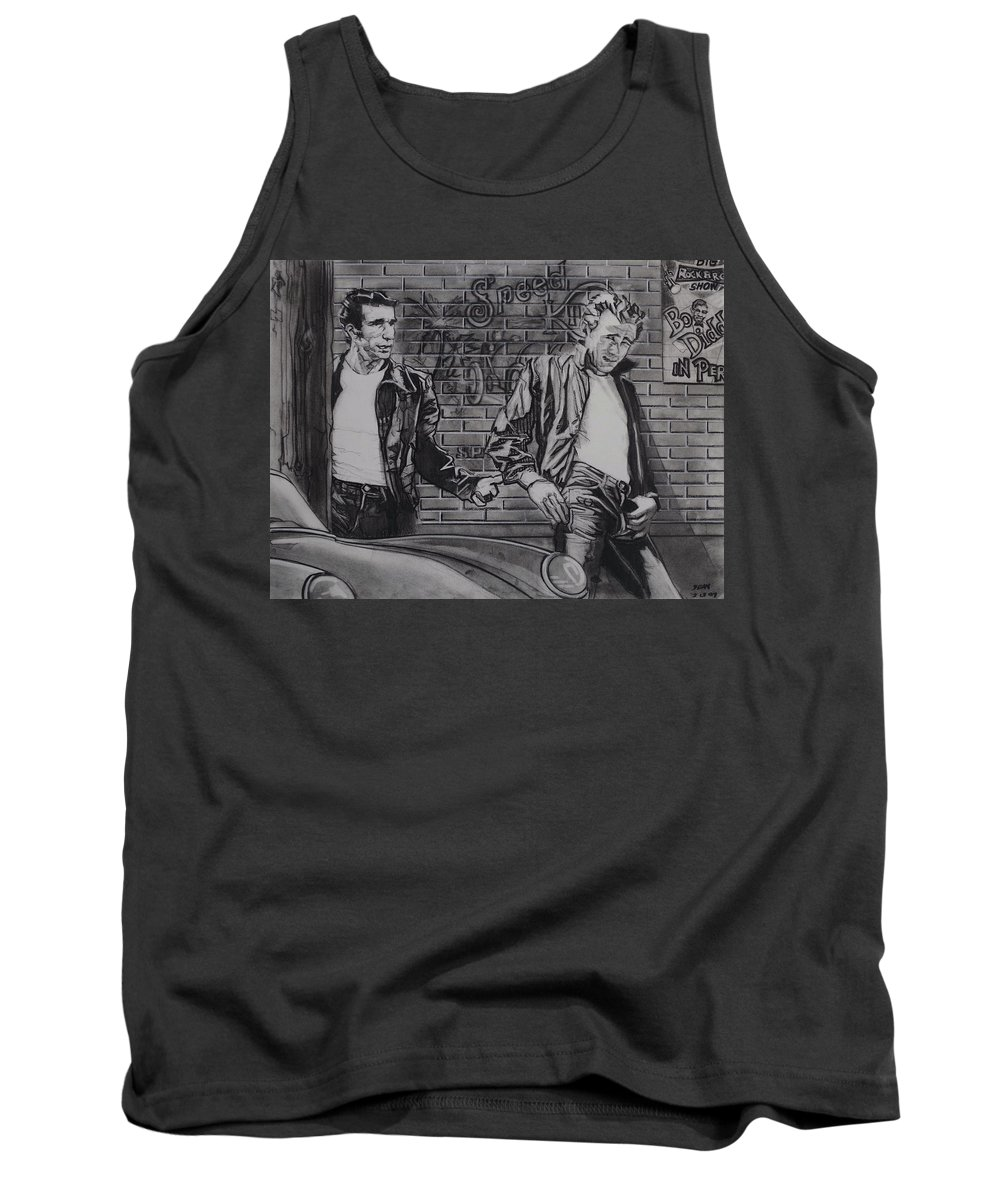 Charcoal On Paper Tank Top featuring the drawing James Dean Meets The Fonz by Sean Connolly