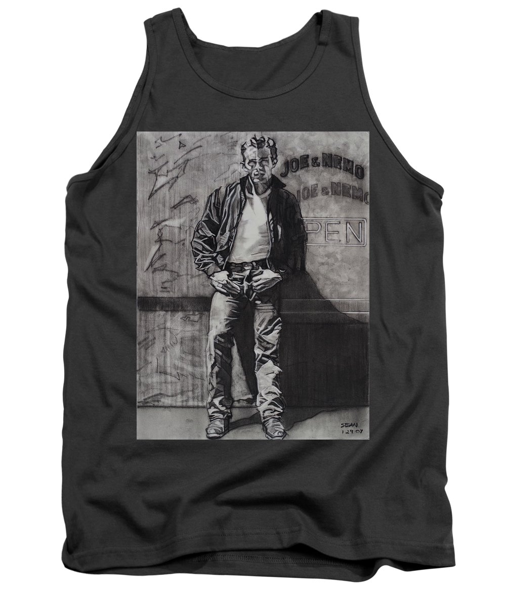 Charcoal On Paper Tank Top featuring the drawing James Dean by Sean Connolly