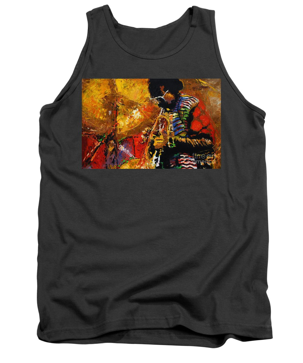 Jazz Tank Top featuring the painting Jazz Miles Davis 3 by Yuriy Shevchuk