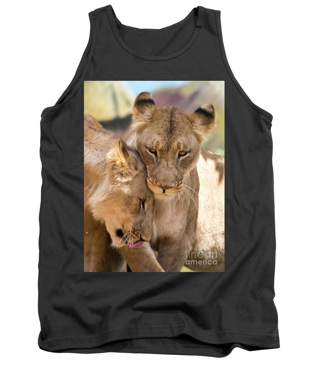 Lion Tank Top featuring the photograph Lioness with cub by Sheila Smart Fine Art Photography