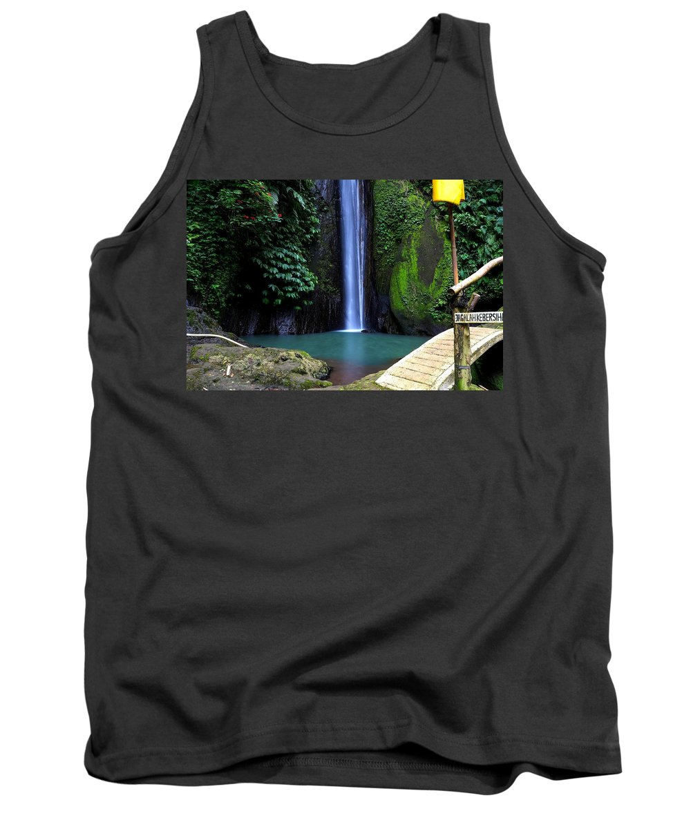Waterfall Tank Top featuring the digital art Lonely waterfall by Worldvibes1