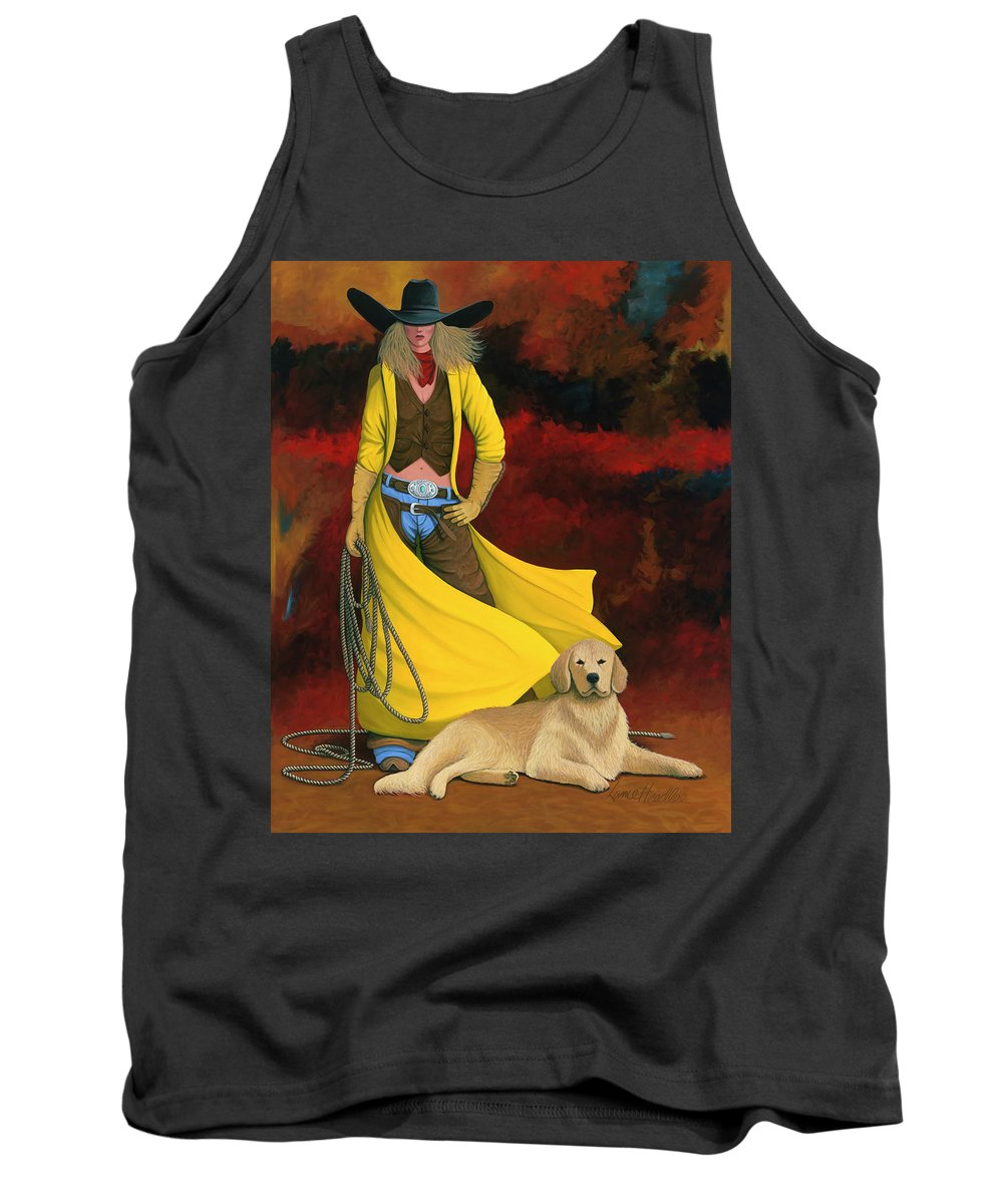Cowgirl Girl And Dog Tank Top featuring the painting Man's Best Friend by Lance Headlee