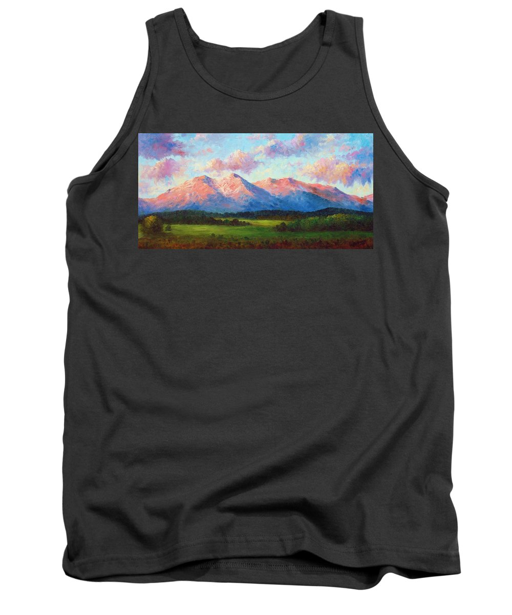 Landscape Tank Top featuring the painting Morning Light On Mount Shavano by David G Paul