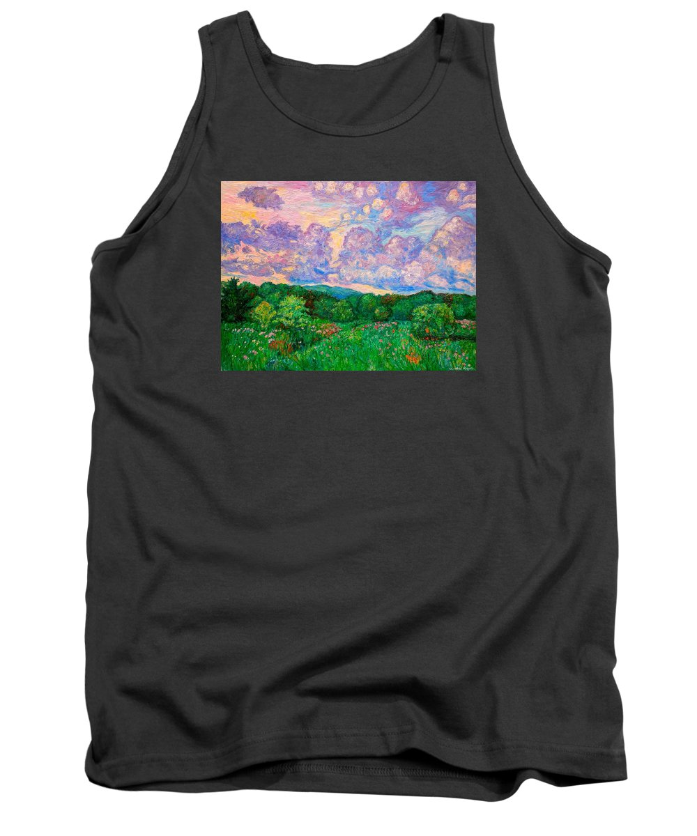Landscape Tank Top featuring the painting Mushroom Clouds by Kendall Kessler