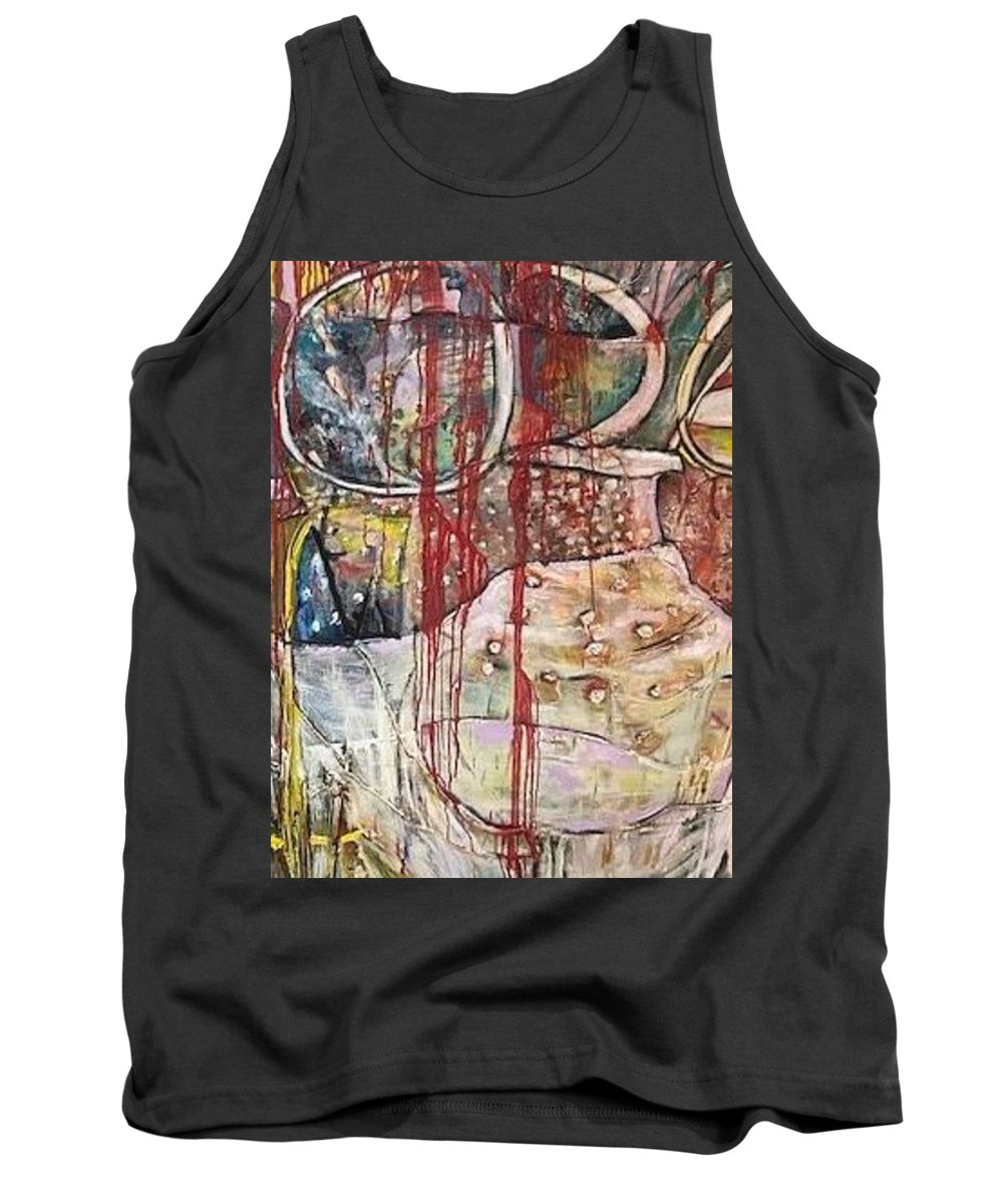 Figurative Tank Top featuring the painting No Peace by Peggy Blood