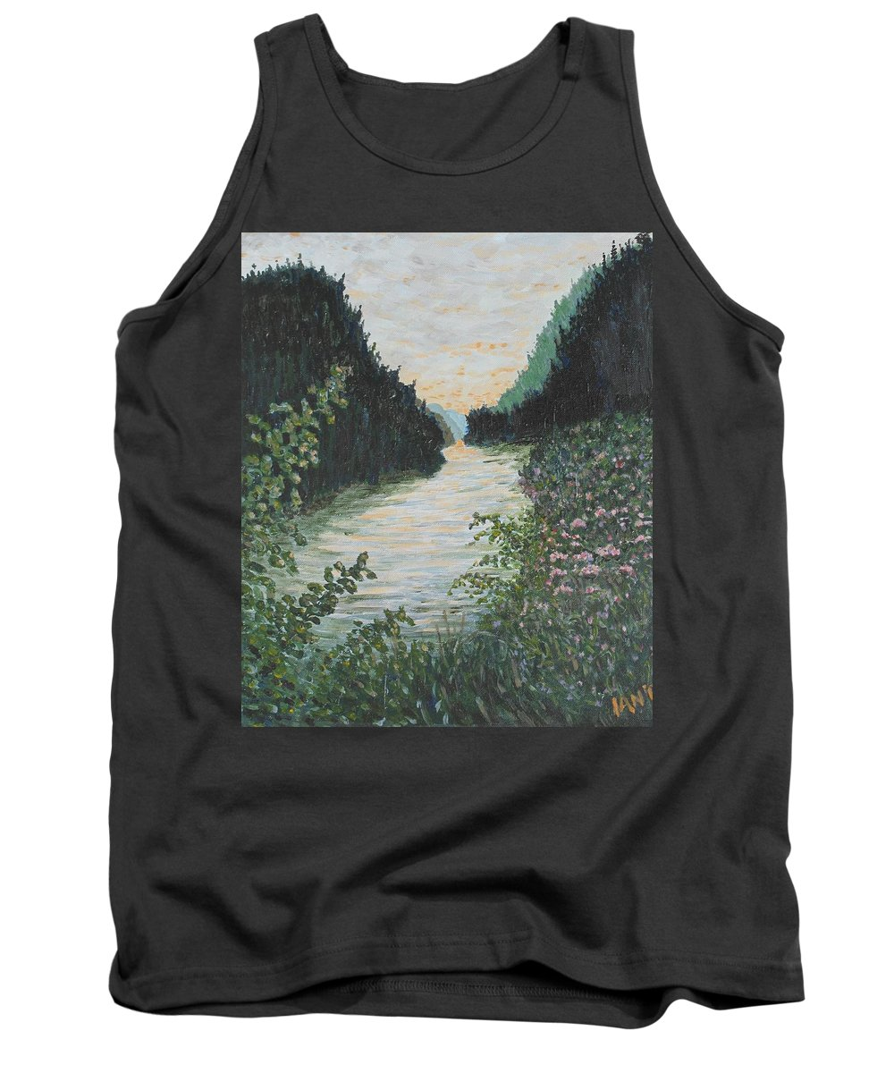 Agawa Canyon Tank Top featuring the painting North of Sault Ste. Marie by Ian MacDonald