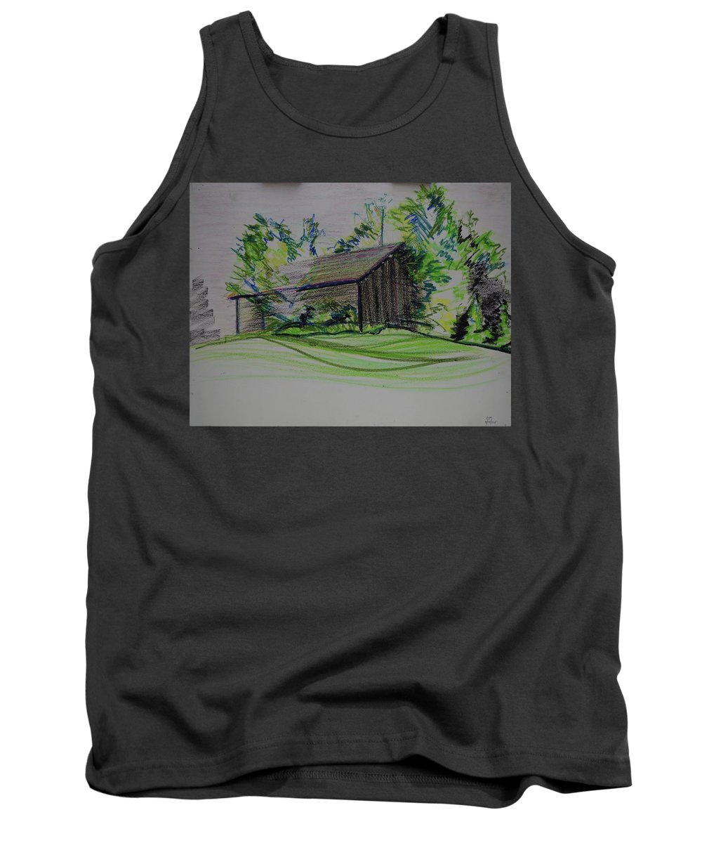 Plein Air Tank Top featuring the pastel Old Barn At Wason Pond by Sean Connolly