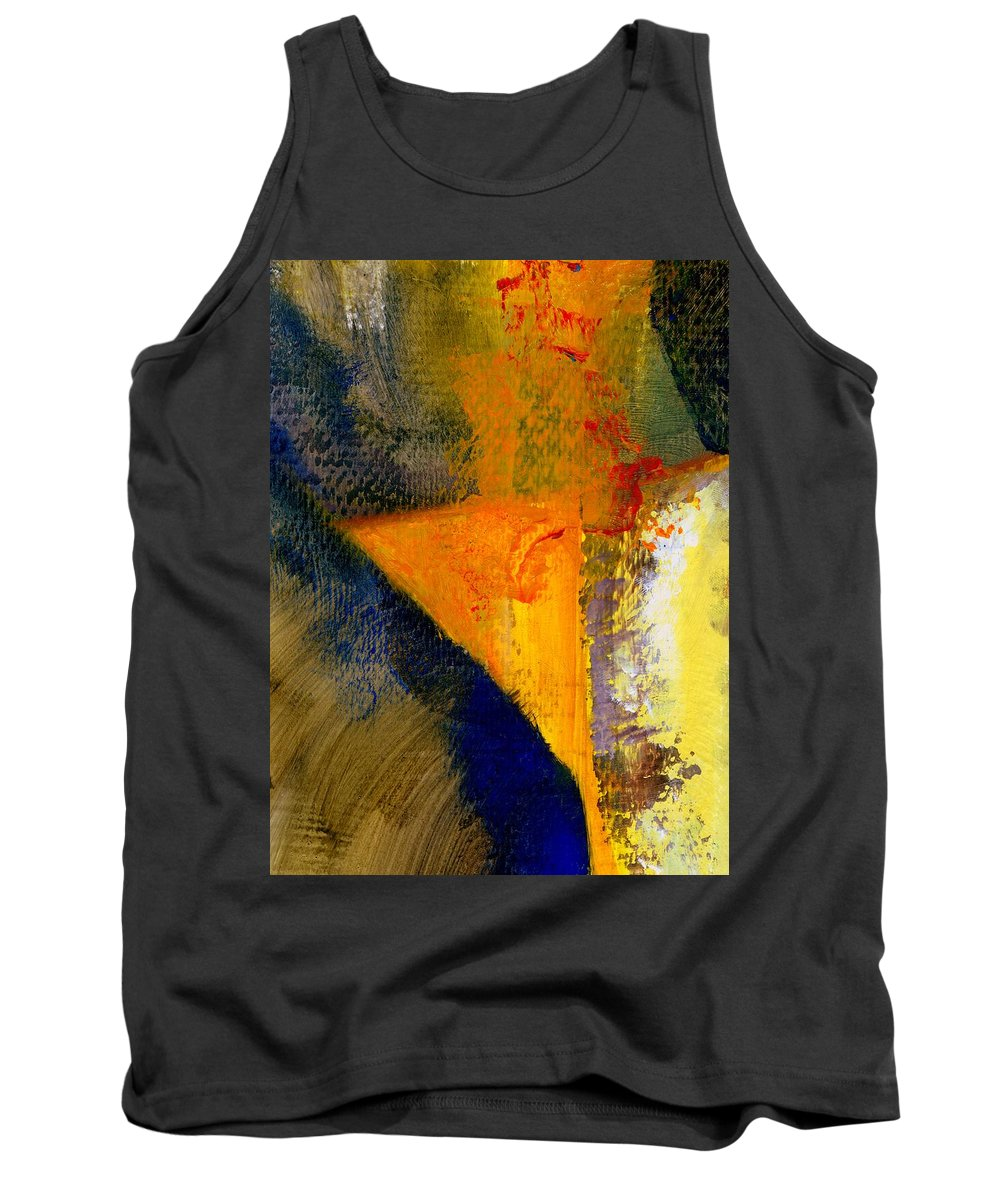 Rustic Tank Top featuring the painting Orange and Blue Color Study by Michelle Calkins
