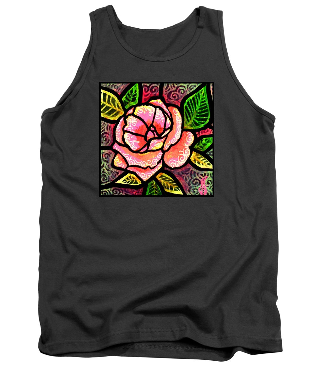 Rose Tank Top featuring the painting Pink Rose of Love by Jim Harris